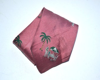 Vintage 70s tennis resort palms   Necktie family vacation  pink  embroidered tie   Father Day gift
