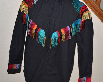 Vintage  Tribal ethnic Native American Southwest Art women boyfriend shirt jacket  size M by Darla Higgins  women  fringed blouse   beaded