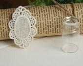 Vintage style cotton lace applique in beige, mirror lace applique 4 pieces