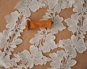 bridal veil lace trim in ivory , venice floral embroidery lace trim, crochet trim lace