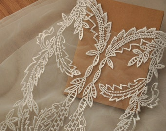 bridal lace applique in ivory, gorgeous wedding lace applique, floral embroidery lace applique