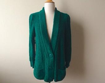 Vintage Emerald Green Oversized Cardigan