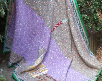 Purple Kantha Quilt, Purple Kantha Throw,Purple Sari throw,Patchwork Kantha, Patchwork Throw, Vintage Kantha Quilt,
