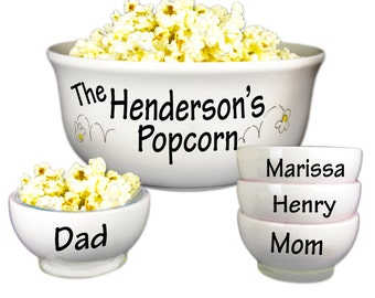 Personalized Family Popcorn Bowl Set Large Ceramic Pop Corn Bowl w 4 small bowls Movie Night Hand Paint Popcorn Bowl Tub Bucket POPCER-SET
