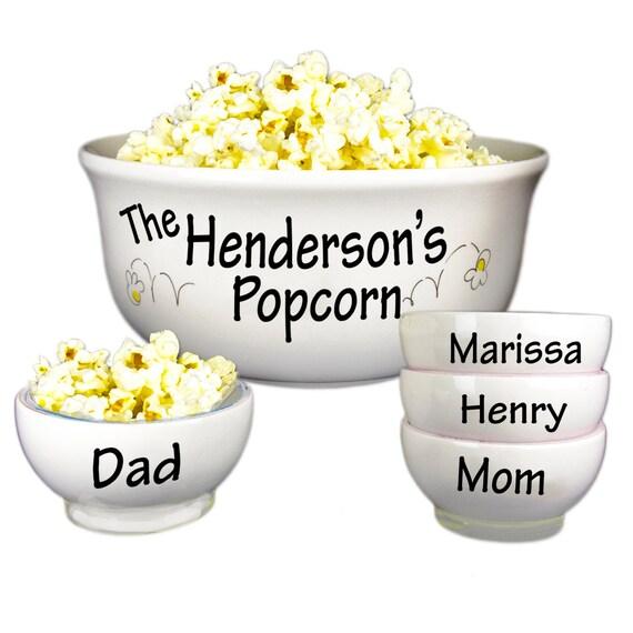 Personalized Family Popcorn Bowl Set Large Ceramic Pop Corn