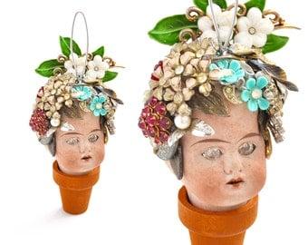 Flower Pot Head, mixed media assemblage, altered art doll, doll head ornament, flower child, encrusted jewelry, by Elizabeth Rosen
