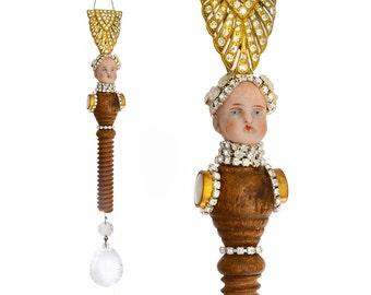 Silver and Gold dutchess, Red Queen, mixed media assemblage art doll, Grand Dutchess 95, original handmade ornament, by Elizabeth Rosen