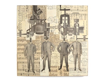 man and machine, an original paper collage on wood by Elizabeth Rosen