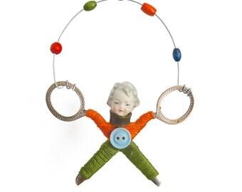 little JUGGLER (7), original art doll ornament, found object art, mixed media assemblage, by Elizabeth Rosen