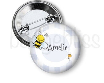 Bee button badge or fridge magnet