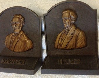 pair vintage iron bookends athors whittier holms braddly