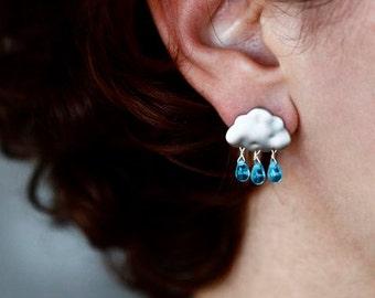 SUMMER RAIN earrings - cloud earrings - blue drops earrings
