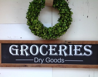 Groceries - Dry goods. Painted on salvaged barn wood. READY TO SHIP