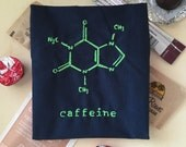 Caffeine Chemical Diagram, Charger Storage Pouch, Navy with Lime Green Lining, Science Fun