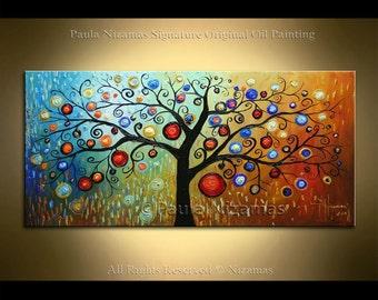Art - Magic Tree Abstract Painting - on canvas ready to hang by Nizamas interior wall decor