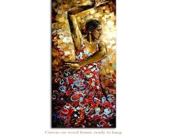 Flamenco Dancer - Figure Art Giclee on canvas home interior DecorPaula Nizamas Ready to hang