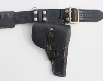 Vintage Police Leather Belt- Holster- Handcuffs With original Keys-black Leather Waist belt-Cop-Retro Collectible Accessories Memorabilia