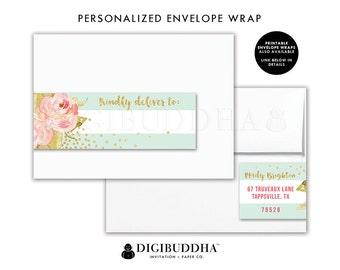 ENVELOPE WRAP LABELS Envelope Wrap Address Label Sticker Wrap Around Envelope Label Return Address Labels Ready Made Printed Labels - Krissy