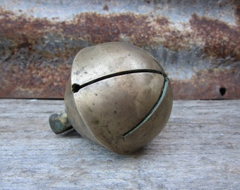 Jingle Bell Antique Sleigh Bell 2 1/4 Inch SwedishbBrass Old Sleigh Bell 1800s Christmas Holiday Ornament Decoration Horse Great Patina
