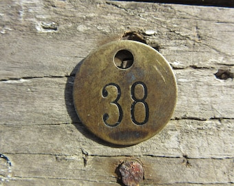 Number Tag Charm Brass Number 38 Tag Small 1 Inch Aged #38 Tag Vintage Tag Industrial Identification Tag Lucky Number House Number Keychain