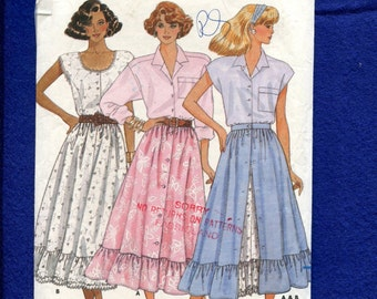 Vintage 1987 Butterick 4843 Country Western Swing Ruffle Tier Skirt Sizes 14..16..18 UNCUT