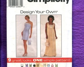 Simplicity 8591 Prom Dresses with Straight Skirts Size 10  12  14 UNCUT