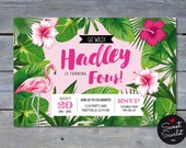 FLAMINGO Invitation for Tropical Pool Birthday Party - Pink - Palm leaves - Aloha - Personalized - 4x6 or 5x7 - Print Your Own - DIY