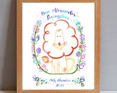 Personalised Christening Name and Date Gift Print Personalised New Baby Lion Gift Print
