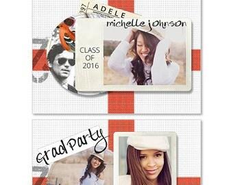 Graduation Announcements Templates, Senior Retro Graduation Card Templates, Graduation Invitation, Senior Photography, Photoshop, SKU401