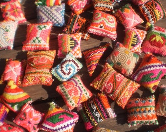 50  Mini Textile Pockets HandMade with Upcycled Hmong Hilltribe Embroidery