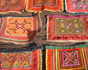 Embroidered Vintage Tribal Textile By The Hmong Hilltribe People Set of 6