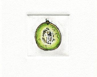 honeydew melon green etching miniprint