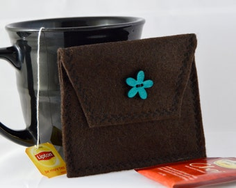 Brown Tea Bag Pouch, Tea Bag Carrier, Brown Tea Tote, Reusable Tea Pouch, Tea Wallet, Felt Envelope, Tea Accessory, Mother's Day Gift