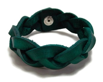 "7 1/4"" Teal Mystery Braid, Braided Leather Bracelet, Braided Bracelet, Teal Leather Bracelet, Gifts Under 15"