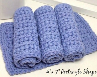 Eco Friendly Reusable Dishcloths - Periwinkle Rectangular Dishcloths - Handmade Set of 4