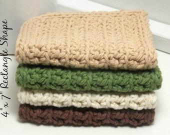 Hand Crochet Dishcloths - Pacific Northwest Crochet Dishcloths - Tan, Sage, Brown & Ecru