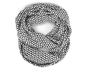 Infinity Scarf Endless Loop Scarf Womens Tube Scarf Circle Scarf Black White Birds Mother's Day Gift Women Gift Free Shipping Ready to Ship
