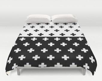 36 colours, Swiss Cross Duvet Cover, Half Half YIN YANG print, Black and white, double duvet, king duvet cover, plus sign queen duvet cover