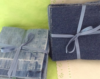 Denim squares - Pre-cut Fabric - Patchwork projects - DIY quilt  - 6.5 inch squares - rag quilt kit - upcycled used denim - Eco friendly