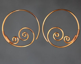 Double wave spiral copper wiring hoop earring handmade US freeshipping Anni Designs