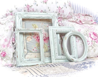 Shabby Vintage Ice Blue Distressed Ornate Carved Gesso Picture Photo Frames Set 4 Cottage Chic READY TO SHIP