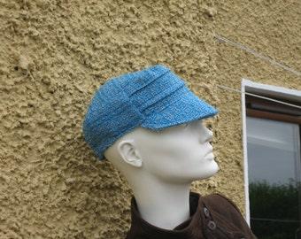 Blue handwoven wool cap