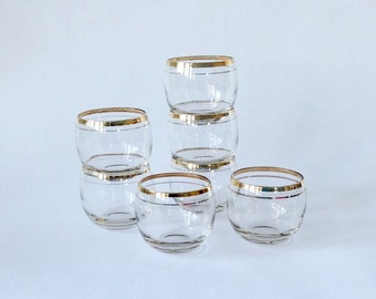 Gold Banded Roly Poly Glasses, set of 7