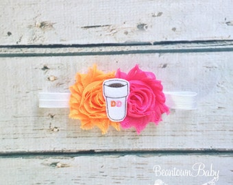 Dunkin Donuts-Inspired Bow, Dunkin Donuts-Inspired Headband, Dunkin Donuts Baby Gift, Donut Bow, Coffee Bow, Boston Baby Gift, New Mom Gift