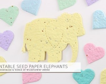 READY-TO-SHIP ** 10 Soft Yellow Plantable Seed Paper Elephants - Large Size- Baby Shower Favors, Birth Announcements, Birthdays, Shower Gift