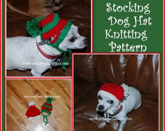 Christmas Stocking Dog Hat Knitting Pattern Instant Download PDF file