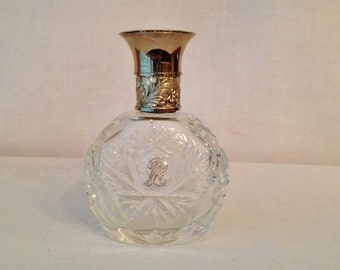 Vintage Ralph Lauren Pressed Glass Perfume Bottle with Silver Lid