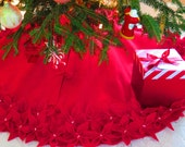 "Custom order for KBstore: 65""Christmas Tree Skirt in a Deep Red Premium felt with Hand cut and sewn flowers. ""FREE SHIPPING"""