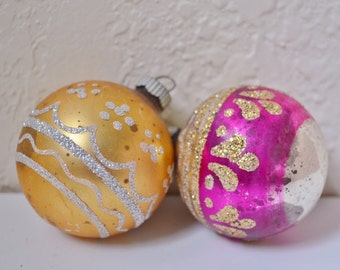 2 Vintage Glass Christmas Ornaments with Glitter Shiny Brite Pink Gold USA Shabby Chic