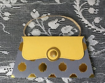 Gray and Gold Purse Gift Card and Money Holder